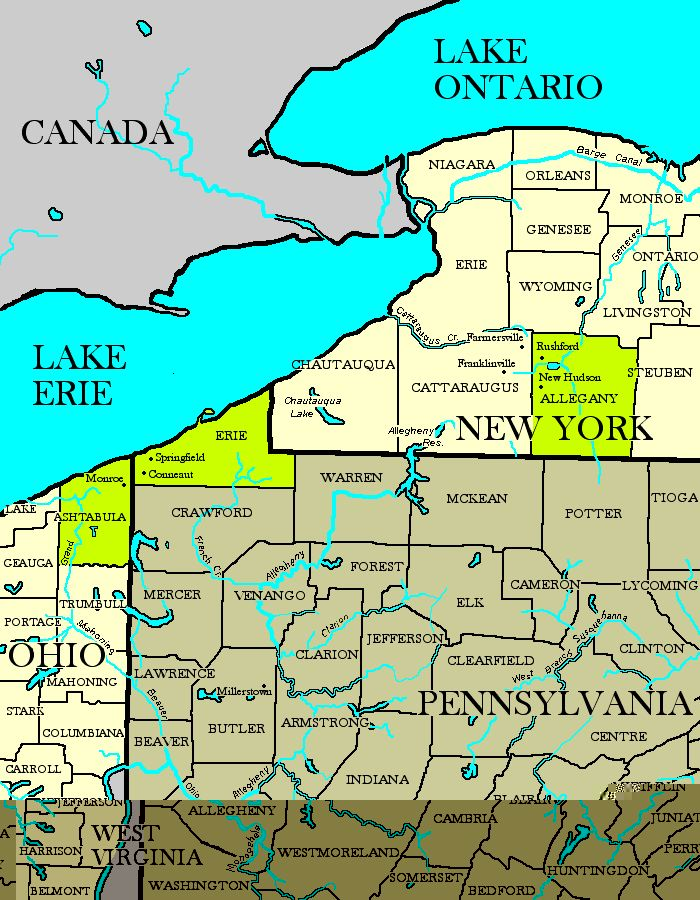Map Of New York And Ohio.Nypaoh